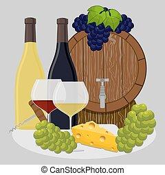 barrel filled with wine - Vector illustration logo for wood...