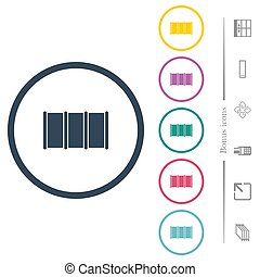 Barrel flat color icons in round outlines