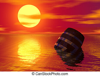 Barrel Floating in the Ocean Red Sunset