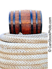 barrel for wine on a rope - oak barrel marine rope isolated...