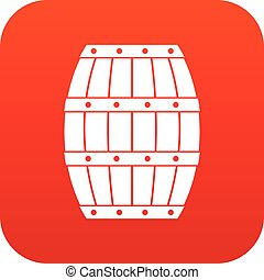 Barrel icon digital red for any design isolated on white...