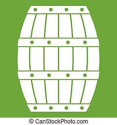 Barrel icon green - Barrel icon white isolated on green...