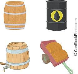 Barrel icon set, cartoon style
