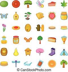 Barrel icons set, cartoon style