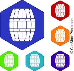 Barrel icons set hexagon isolated vector illustration