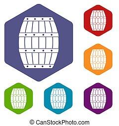 Barrel icons set hexagon