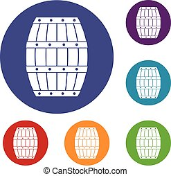 Barrel icons set in flat circle red, blue and green color...