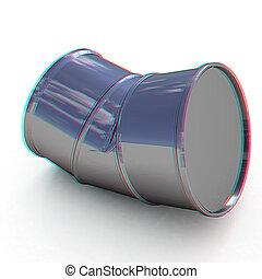 barrel., illustration., 曲がった, 3d, anaglyph., 見なさい、, 3d., 光景, red/cyan, ガラス