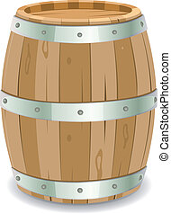 Barrel - Illustration of a cartoon wooden wine barrel with...