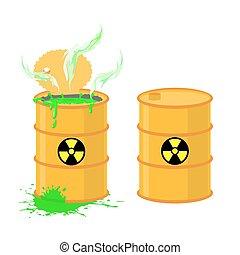 Barrel of acid. Vector illustration open drums with dangerous green liquid.