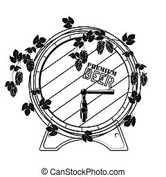 Barrel of beer entwined with hops. Vector. Black on white. -...