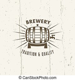 Barrel of beer isolated vector vintage label