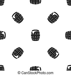 Barrel of beer pattern seamless black