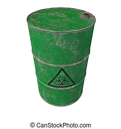 Barrel of biological waste. Isolated . 3D render.
