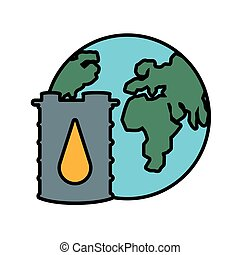 barrel of gasoline with world planet