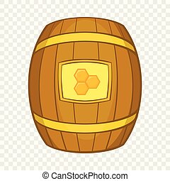 Barrel of honey icon, cartoon style