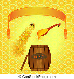 barrel of honey - Vector image barrel with honey and spoon...