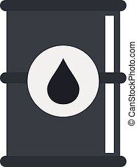 Barrel of oil icon, flat style