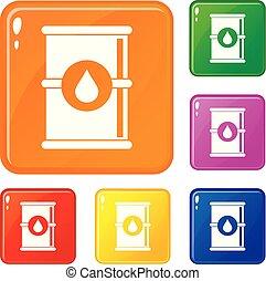 Barrel of oil icons set vector color
