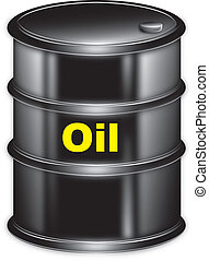 "vector drawing black barrel marked ""oil"" on a white background"