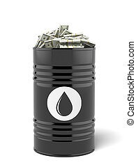 Barrel of oil with dollars