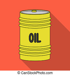 Barrel of oil.Oil single icon in flat style raster, bitmap symbol stock illustration web.