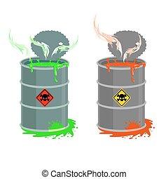 Barrel of toxic waste. Biohazard open container. Grey with red barrel of radioactive liquid. Green acid emerged. Vector illustration