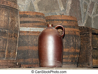 Barrel of wine in a rustic setting