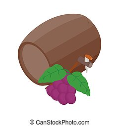 Barrel of wine with grape branch icon