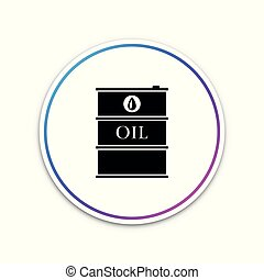 Barrel oil icon isolated on white background. Circle white button. Vector Illustration