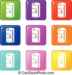 Barrel oil icons set 9 color collection