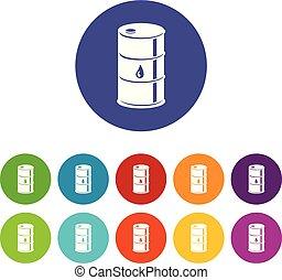 Barrel oil icons set vector color