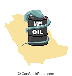 Barrel oil in Saudi Arabia map background. Snake around  barrel. Vector illustration. Reptile in desert
