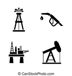 Barrel Oil Production. Simple Related Vector Icons