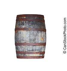 Barrel - Old antique wooden barrel with rusty iron rings...