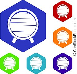 Barrel on legs icons set hexagon isolated vector...