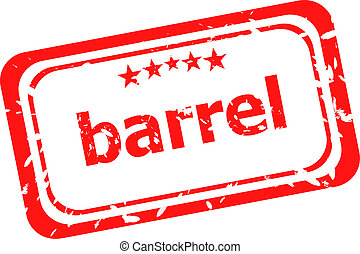 barrel on red rubber stamp over a white background