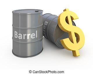 Barrel price 3d concept illustration