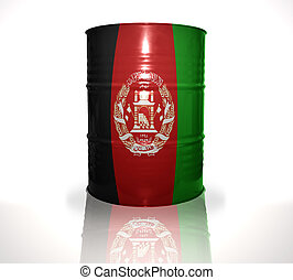 barrel with afghan flag on the white background