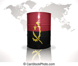 barrel with angolan flag on the world map background