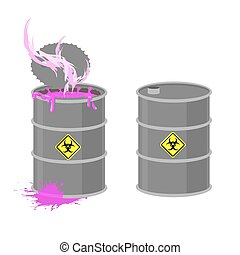 Barrel with Biohazard. Grey barrel with pink radioactive liquid. Chemical waste from production. Vector illustration open container.