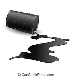Barrel with spilled black liquid. Illustration on white