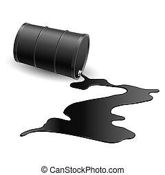 Barrel with black liquid - Barrel with spilled black liquid...