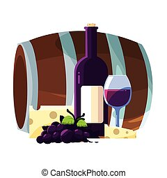 barrel with bottle of wine on white background