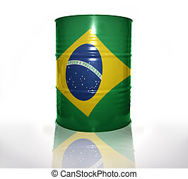 barrel with brazilian flag on the white background