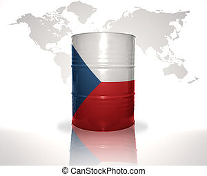 barrel with czech flag on the world map background