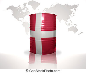 barrel with danish flag on the world map background
