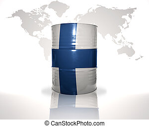 barrel with finnish flag on the world map background
