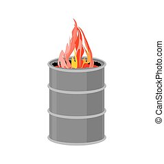Barrel with fire. Fire for homeless to become warmer. Vector illustration