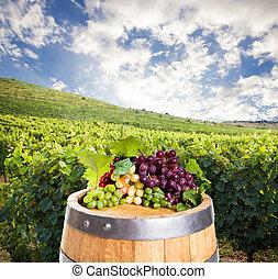 Barrel with grape